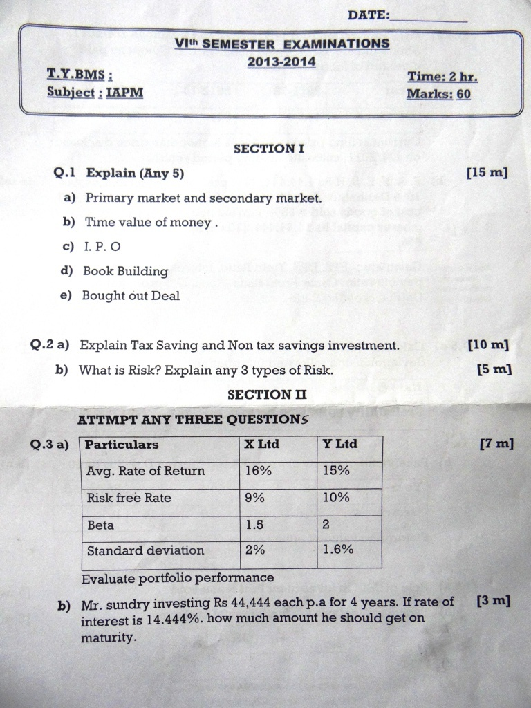St. Rocks College Investment Analysis & Portfolio Management Prelims Question Paper 2014