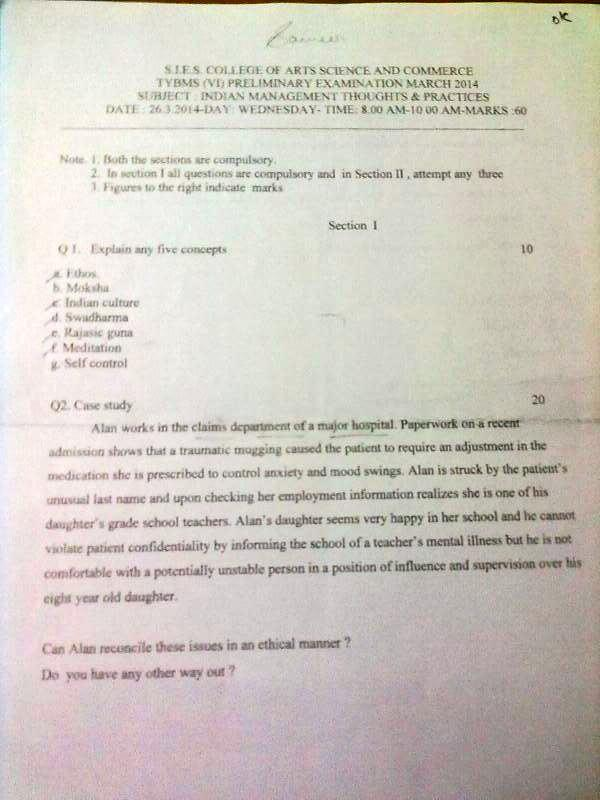 SIES College Indian Management Thoughts & Practices Prelims Question Paper 2014