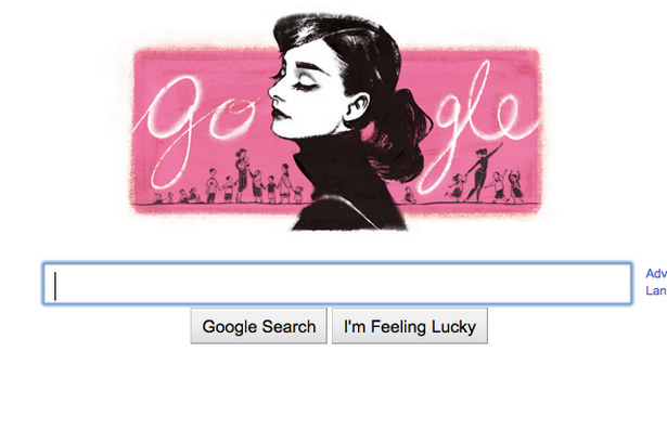 Google celebrates Audrey Hepburn's 85th birthday with a pink doodle