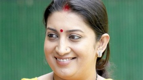 HRD minister Smriti Irani congratulates the CBSE Class XII toppers