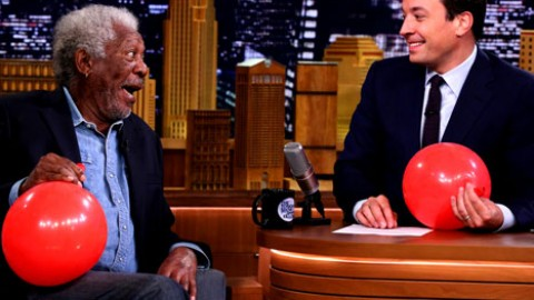 VIDEO: Morgan Freeman Chats with Jimmy Fallon While Sucking Helium!