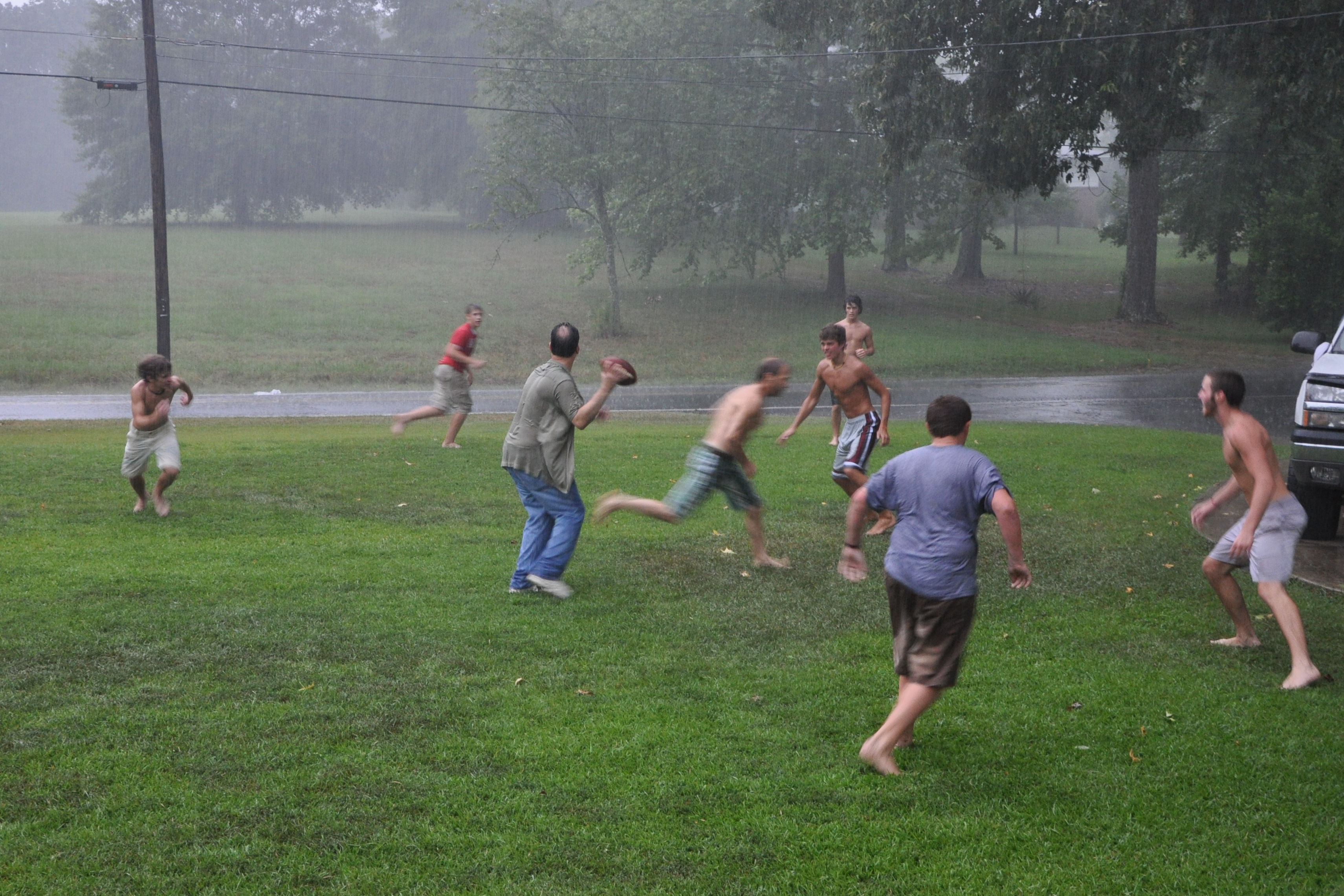 rugby in rain