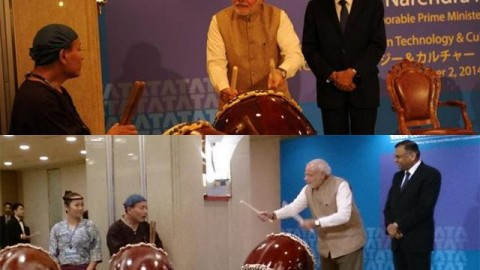 Watch PM Modi with Japanese Ceremonial Drummers