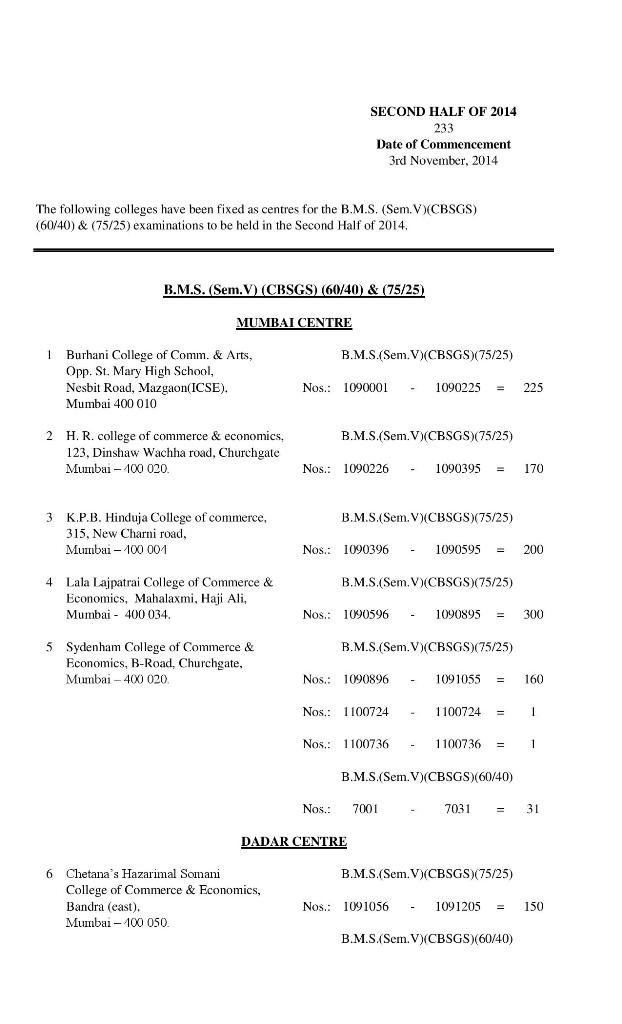 Revised Seating Arrangement for the B.M.S. (Sem.V) (75/25)(CBSGS) November 2014