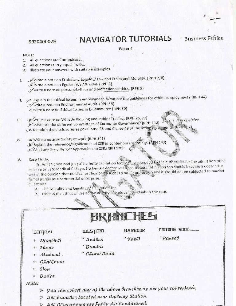 Business Ethics Prelims Question Paper IV 2014 – Navigator Tutorials