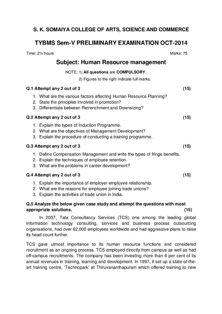 Human Resource Management Prelims Question Paper I 2014 – S.K. Somaiya College