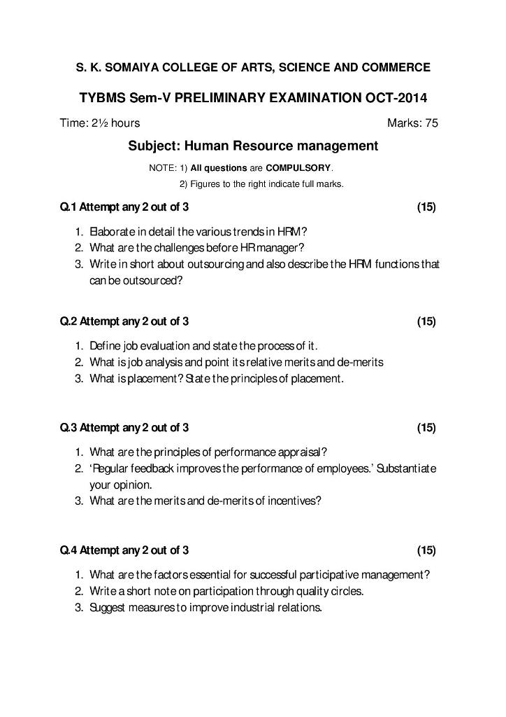 Human Resource Management Prelims Question Paper II 2014 – S.K. Somaiya College