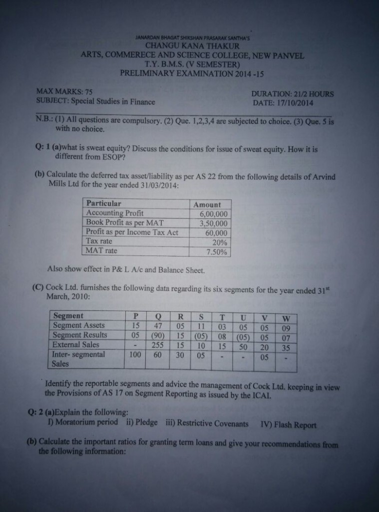 Special Studies in Finance Prelims Question Paper 2014 - C.K.T. College