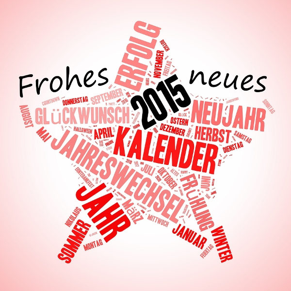 Star shape wishing in German Frohes Neues Jahr (happy new year)