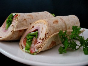 cheese and ham wraps