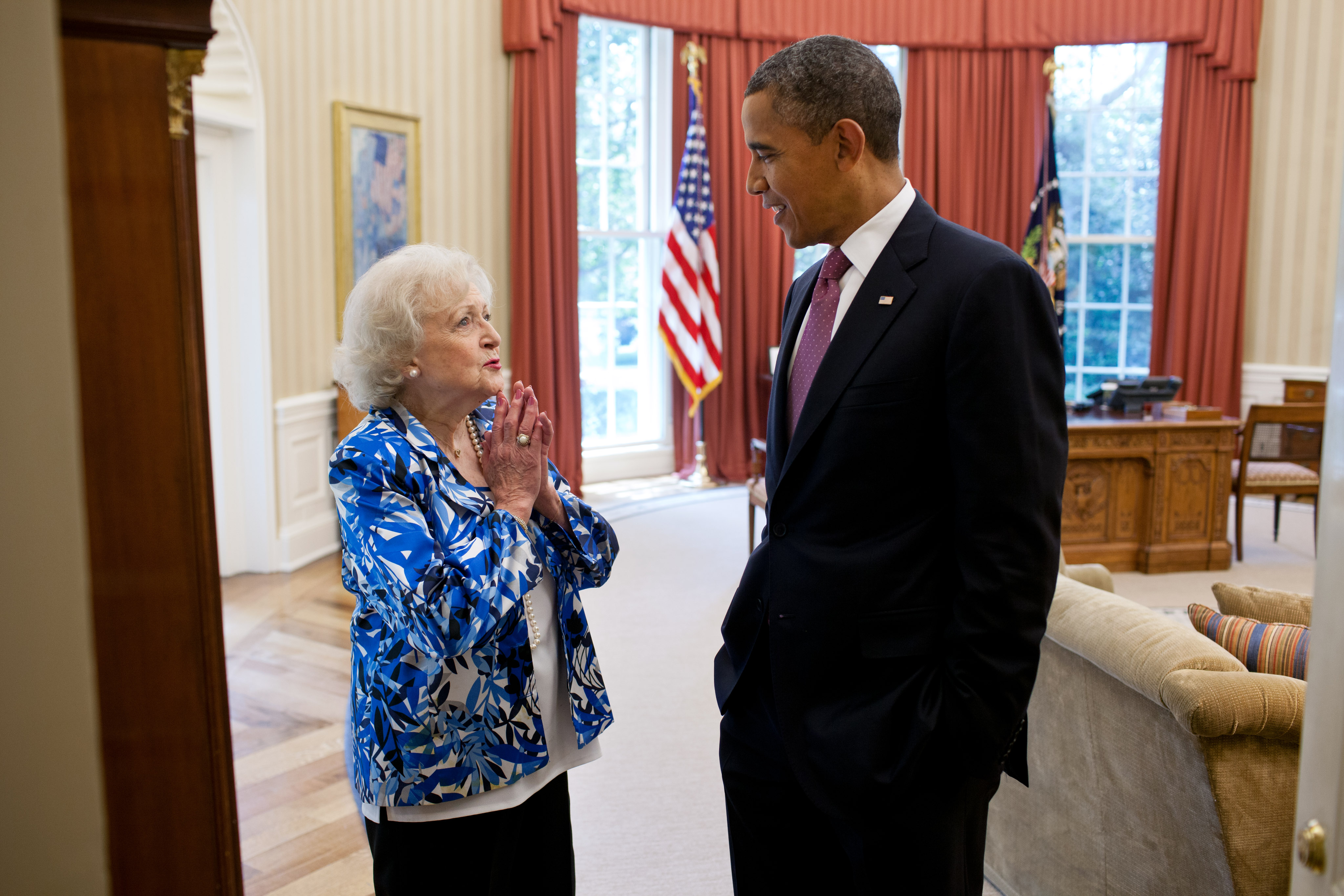 Betty White with obama
