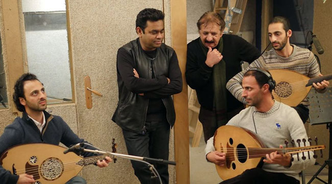 A R Rahman with Majid Majidi and Palestinian musical group Le Trio Joubran.