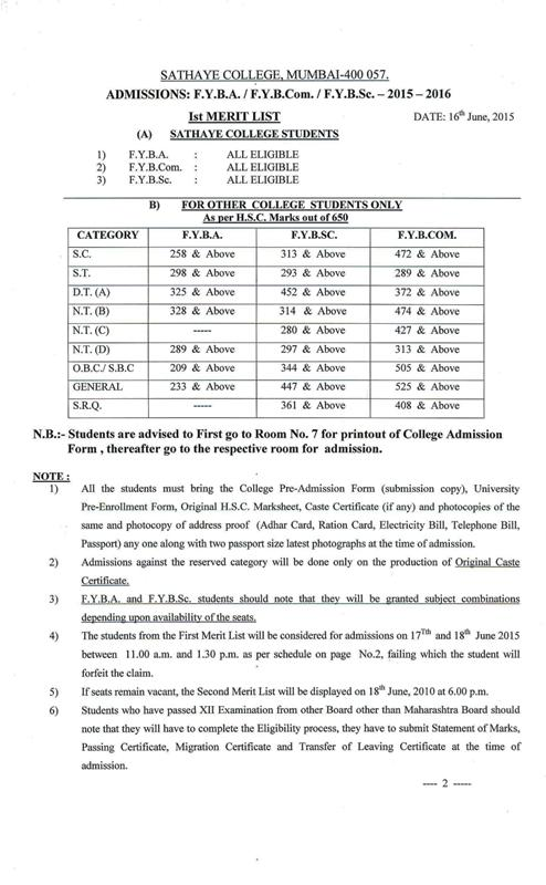 F.Y.B.SC. Cutoff 2015 First Merit List of Sathaye College