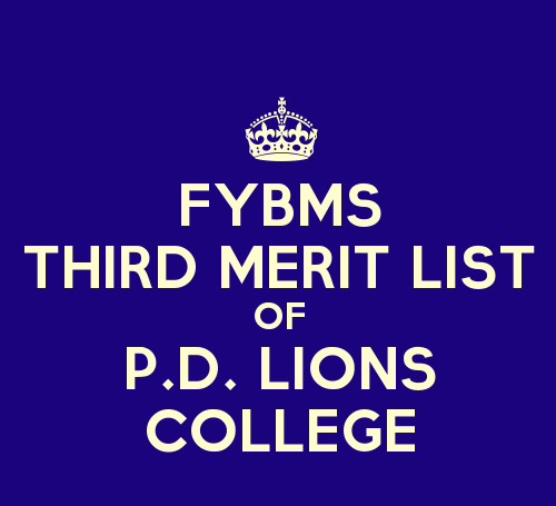 FYBMS Cutoff 2015 Third Merit List of Prahladrai Dalmia Lions College