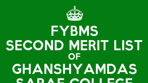 FYBMS Cutoff 2015 Second Merit List of Ghanshyamdas Saraf College