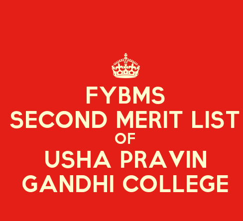 FYBMS Cutoff 2015 Second Merit List of Usha Pravin Gandhi College