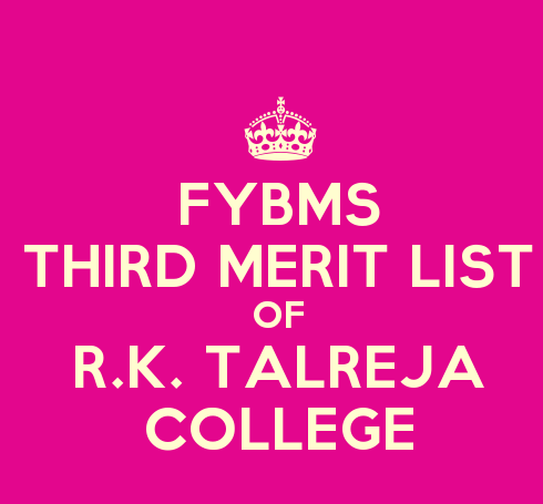 FYBMS Cutoff 2015 Third Merit List of R.K. Talreja College