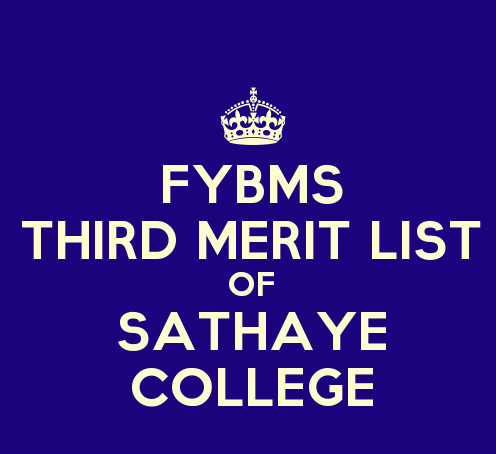 FYBMS Cutoff 2015 Third Merit List of Sathaye College