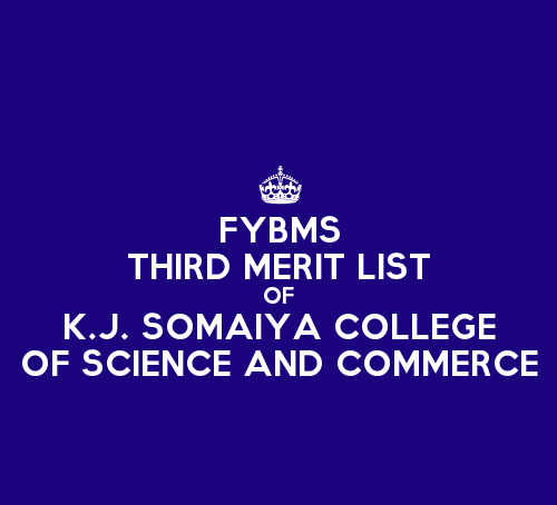 FYBMS Cutoff 2015 Third Merit List of K.J. Somaiya College of Science and Commerce