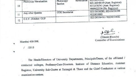Query Related Contact Numbers of Mumbai University