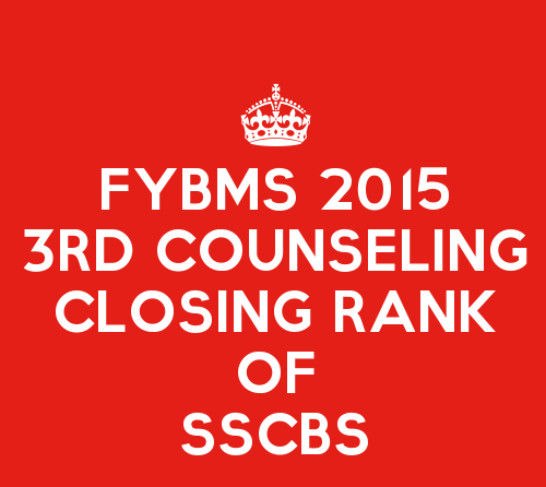 FYBMS Third Counselling Closing Rank 2015 of Shaheed Sukhdev College of Business Studies (SSCBS)
