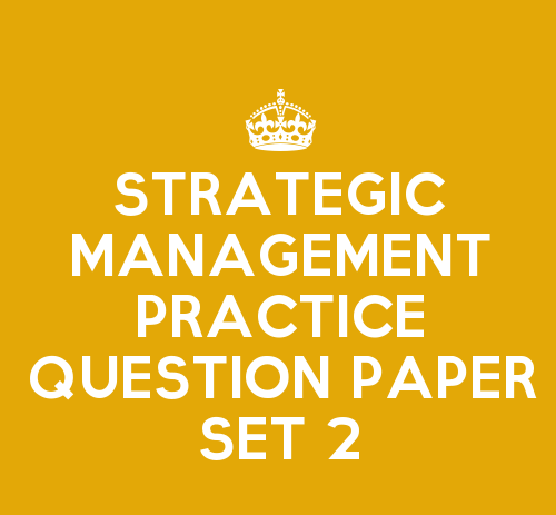 Strategic Management Practice Question Paper Set 2